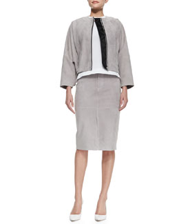 Victoria Beckham Denim Suede Bomber Jacket, Jewel-Neck Seamed Shell & Suede Pencil Skirt