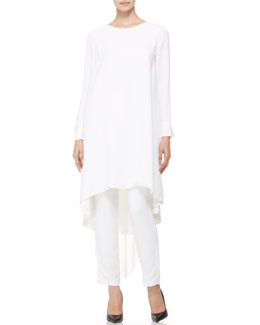 Adam Lippes Long-Sleeve Pleated-Back Tunic/Dress & High-Waist Crepe Pants