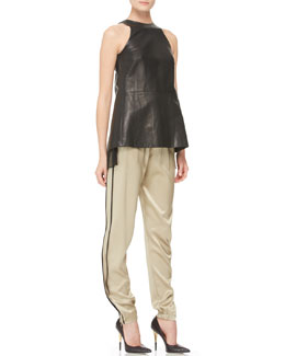 Adam Lippes Pleated Silk-Inset Leather Top & Silk Track Pants