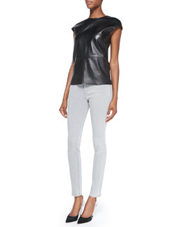 J Brand Jeans Karo Cap-Sleeve Leather Top & Mid-Rise Skinny Jeans