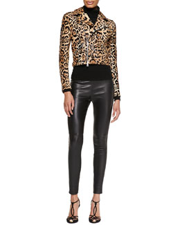 Roxana Leopard-Print Moto Jacket, Cashmere-Silk Turtleneck & Abbey Leather Skinny Pants