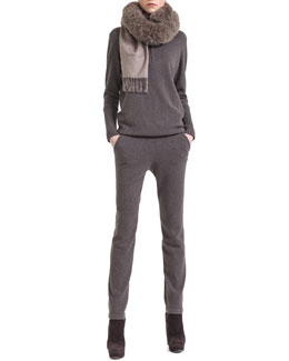 Akris Cashmere Half-Zip Sweater, Cashmere Jogging Pants & Alpaca-Fur-Collar Wrap
