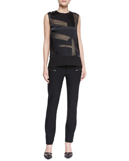 Helmut Lang Hexa Sheer Burnout Sleeveless Top & Cropped Zip-Pocket Stovepipe Pants