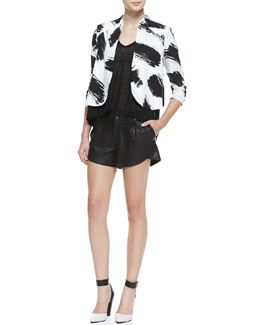 Alice + Olivia York Brush-Print Cropped Crepe Jacket, Jacie Lace-Sleeve Slub Tee & Butterfly Pleated Leather Shorts
