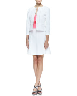 Nanette Lepore Sweet Retreat Embroidered Fitted Jacket, Mojito Flutter-Panel Halter Top & Love Chase A-Line Pique Skirt