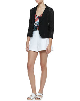 Nanette Lepore Carefree Perforated Twill Blazer, Hotsy Totsy Floral-Print Halter Tank & Hideaway Wide-Leg Pique Shorts