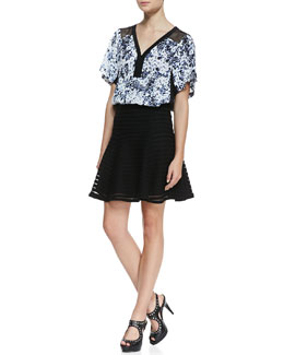 Nanette Lepore Til You Drop Floral-Print Top & Paradise Sheer-Stripe Flounce Skirt