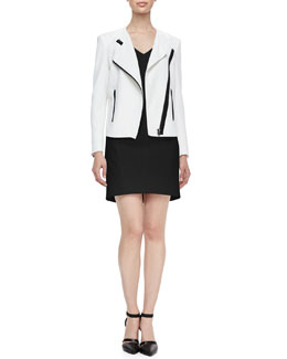 Helmut Lang Sugar Two-Tone Moto Jacket & Structured V-Neck Suiting Dress