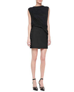 Helmut Lang Draped Cross-Back Jersey Top & Palm Rib-Trim Suiting Skirt
