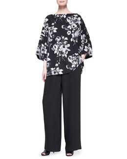 3/4-Sleeve Bateau Neck Floral Tunic & Flared Silk Trousers