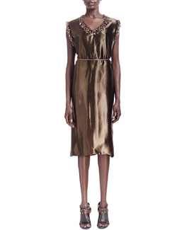 Lanvin Sateen Fringe Bead-Trim Shift Dress & Leather-Back Tie Wire Belt