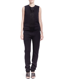 Lanvin Waterfall Jersey Beaded-Fringe Top & Jersey Zip-Pocket Jogging Pants