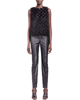 Lanvin Feather-Effect Sleeveless Top & Faux Leather Jeans