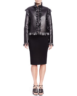 Lanvin Tweed-Fringe Lambskin Jacket & Metal-Detail Jersey Skirt