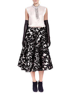 Lanvin Satin Bead-Fringe Sleeveless Top, Floral Fil Coupé Seamed Tiered Skirt & Long Leather/Suede Gloves