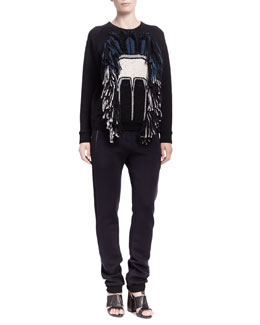 Lanvin Tribal Abstract Face Sweatshirt & Jersey Zip-Pocket Jogging Pants