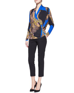 Etro Long-Sleeve Chain/Paisley Faux-Wrap Blouse & Serged Front Zip-Cuff Capri Pants