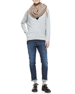 Brunello Cucinelli Paillette Scarf, Long-Sleeve Deep-V Sweater with Sequin Shoulder & Classic 5-Pocket Denim Jeans