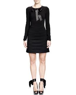 Alexander McQueen Rhinestone Grommet Top w/ Ribbon & Horizontal Seam Scuba Weave Skirt