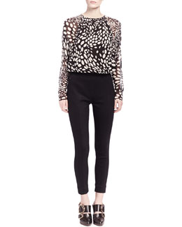 Chloe Long-Sleeve Shadow Spot Blouse and Punto Milano Ski Pants