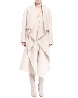 Chloe Long Ruffle-Front Drape Coat & Long-Sleeve Tiered Ruffle Dress