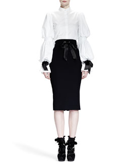 Alexander McQueen Puffed Sleeve Blouse w/ Ribbon Cuffs & Ribbon Grommet Pencil Skirt