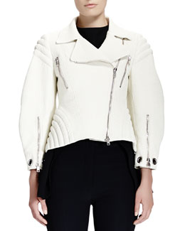 Alexander McQueen Soft-Grain Leather Zip Moto Jacket & Satin Cap-Sleeve High-Low Top