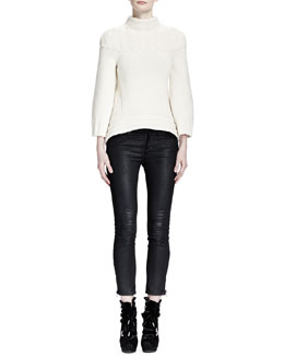 Alexander McQueen Wide Rib-Neck/Sleeve Sweater & Waxed Cotton Zipper Detail Jeans