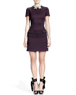 Alexander McQueen Short-Sleeve Flap-Pocket Seamed Dress & Silvertone Ivy Leaf Choker Necklace