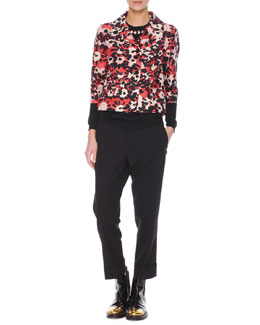 Poppy Floral-Print 3/4-Sleeve Jacket, Jewel-Trim Cashmere Sweater & Flat-Front Cropped Wool Pants