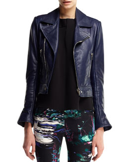 Balenciaga Updated Leather Biker Jacket, Sleeveless Fold-Neck Top & Printed Denim Skinny Jeans