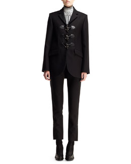 Balenciaga Gabardine Toggle Blazer, Mixed-Print Turtleneck & Cropped Straight-Leg Pants
