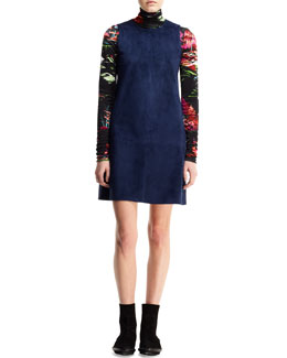 Balenciaga Sleeveless Suede Jumper Dress and Printed Landscape Turtleneck Sweater
