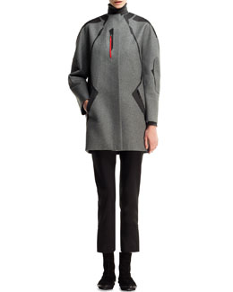 Balenciaga Gabardine-Patch Technical Coat, Cashmere Turtleneck Tunic & Cropped Straight-Leg Pants