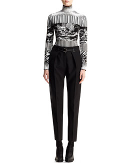Balenciaga Mixed-Print Long-Sleeve Turtleneck and Pleated Toggle-Front Trousers