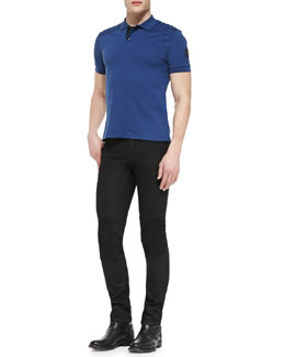 Aspley Short-Sleeve Polo with Shoulder Pads & Blackrod Slim Stretch Jeans with Knee Panels