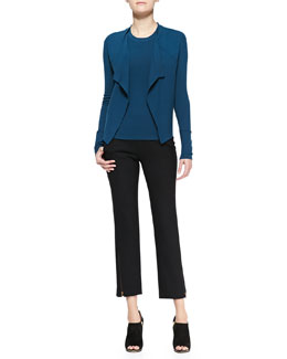 Donna Karan Long-Sleeve Drape-Front Jacket, Short-Sleeve Tee & Ankle Zip Trousers