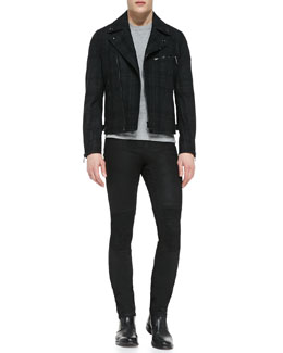 Belstaff Boddington Plaid Biker Jacket and Blackrod Slim Stretch Jeans