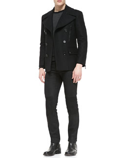 Belstaff Harris Slim-Fit Peacoat, Halewood Raglan Sweater & Blackrod Slim Stretch Jeans