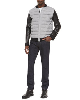 Puffer Jacket with Leather Sleeves & Dark Clean-Wash Denim Jeans