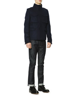 Cotton-Cashmere Field Jacket & Dark Clean-Wash Denim Jeans