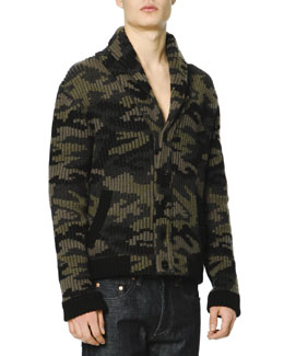 Camo Shaw-Collar Sweater and Dark Clean-Wash Denim Jeans