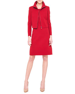 Akris Double-Faced Short Zip Jacket and Sleeveless A-Line Wool Dress