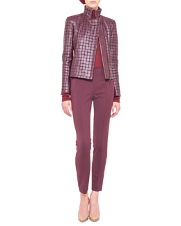 Akris Box-Stitched Leather Jacket, Cashmere-Silk Turtleneck & Melissa Techno Stretch Slim Pants