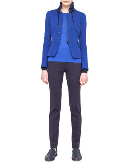 Akris punto Drawstring-Collar Jacket, Contrast-Cuff Sweater & Flat-Front Jersey Pants
