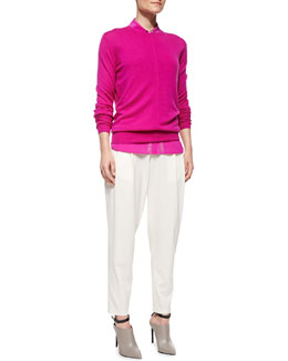 Vince Cashmere Pointelle-Trim Sweater, Silk Button-Up Top & Baggy Cropped Trousers