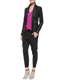 Vince On-Seam Leather Scuba Jacket, Silk Surplice Cami Blouse & Satin-Piped Wrapped-Seam Pants
