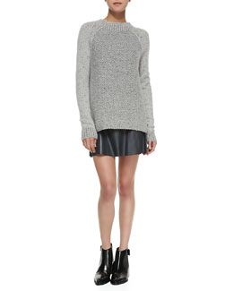 Vince Mixed-Knit Mock-Neck Sweater, Scoop-Neck Loose Silk Tank & A-Line Leather Miniskirt