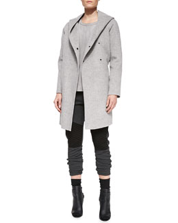 Vince Wool Hooded Coat, Snake-Embossed Short-Sleeve Leather Tee & Quilted-Detail Jersey Sweatpants