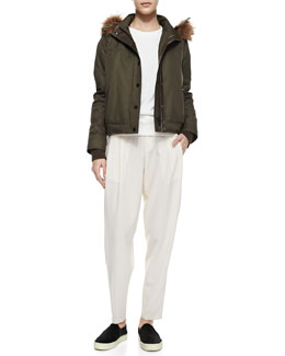 Vince Fur-Trim Hooded Anorak, Quilted-Patch Knit Sweatshirt & Baggy Cropped Trousers